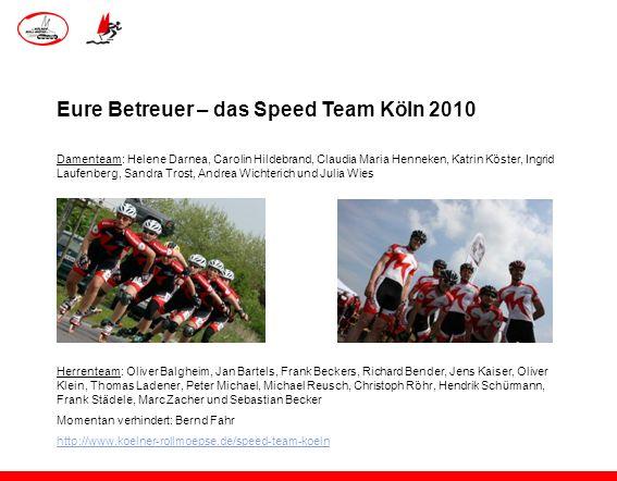 Eure Betreuer – das Speed Team Köln 2010 Damenteam: Helene Darnea, Carolin Hildebrand, Claudia Maria Henneken, Katrin Köster, Ingrid Laufenberg, Sandr