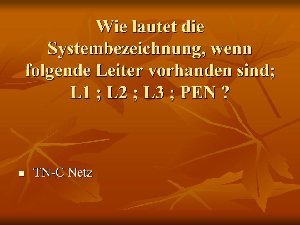 Wie lautet die Systembezeichnung, wenn folgende Leiter vorhanden sind; L1 ; L2 ; L3 ; PEN ? TN-C Netz TN-C Netz