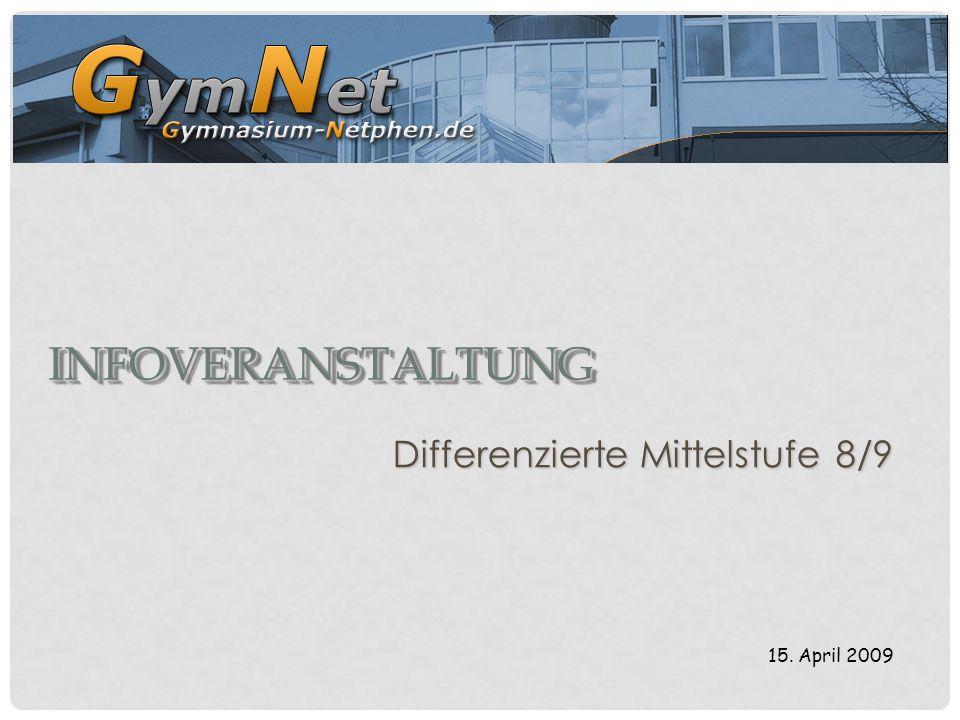 INFOVERANSTALTUNGINFOVERANSTALTUNG Differenzierte Mittelstufe 8/9 15. April 2009