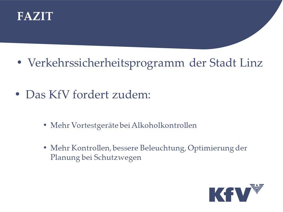 FAZIT Verkehrssicherheitsprogramm der Stadt Linz Das KfV fordert zudem: Mehr Vortestgeräte bei Alkoholkontrollen Mehr Kontrollen, bessere Beleuchtung, Optimierung der Planung bei Schutzwegen