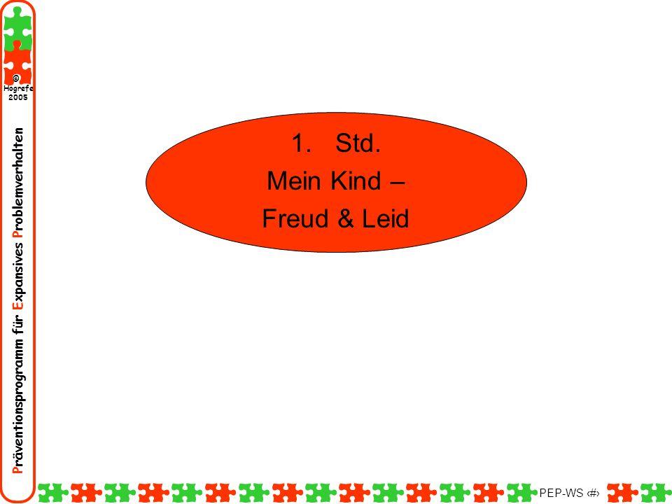 Präventionsprogramm für Expansives Problemverhalten Hogrefe 2005 © PEP-WS 2 1.Std. Mein Kind – Freud & Leid