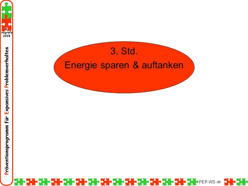 Präventionsprogramm für Expansives Problemverhalten Hogrefe 2005 © PEP-WS 20 3. Std. Energie sparen & auftanken
