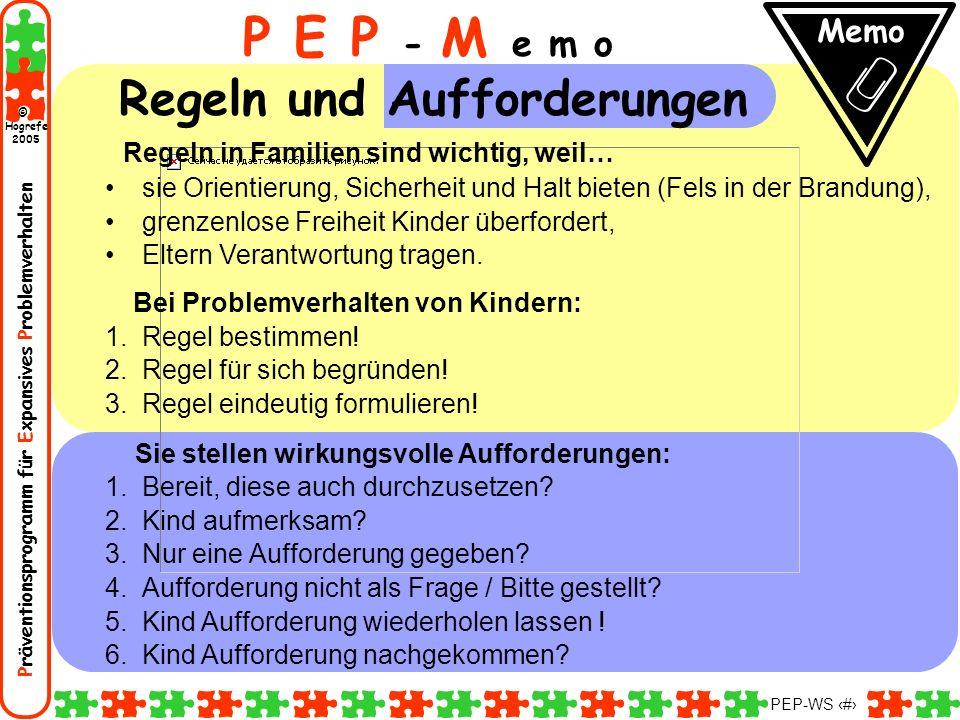Präventionsprogramm für Expansives Problemverhalten Hogrefe 2005 © PEP-WS 31 Regeln in Familien sind wichtig, weil… sie Orientierung, Sicherheit und H