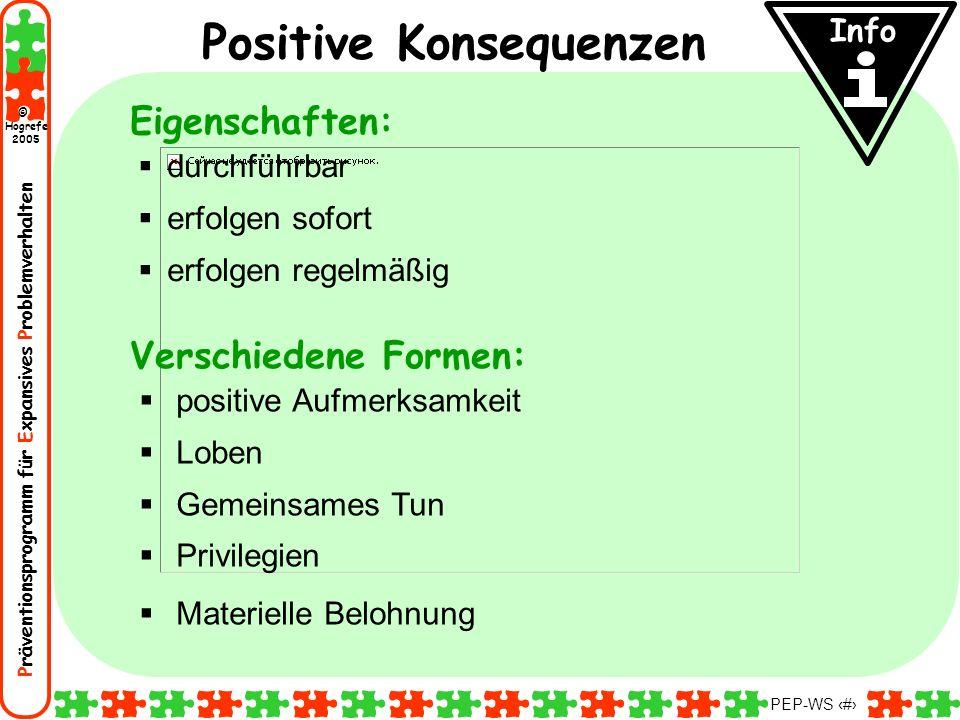 Präventionsprogramm für Expansives Problemverhalten Hogrefe 2005 © PEP-WS 33 positive Aufmerksamkeit Loben Gemeinsames Tun Privilegien Materielle Belo