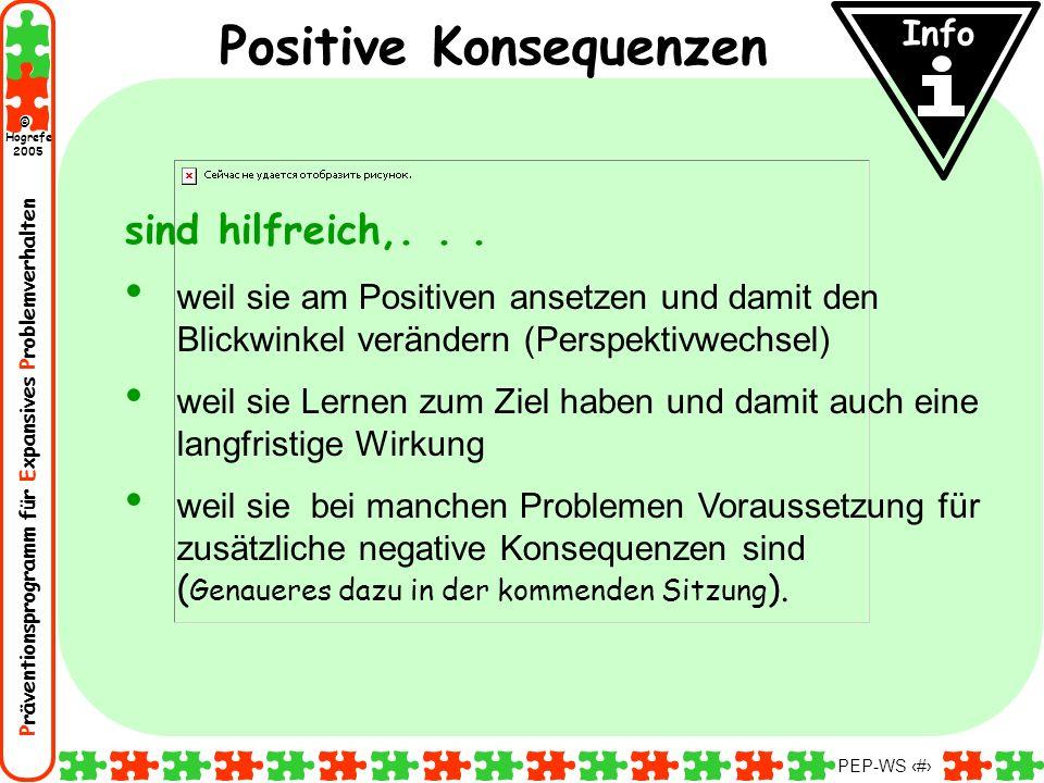 Präventionsprogramm für Expansives Problemverhalten Hogrefe 2005 © PEP-WS 34 Info Positive Konsequenzen sind hilfreich,... weil sie am Positiven anset