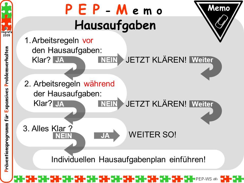 Präventionsprogramm für Expansives Problemverhalten Hogrefe 2005 © PEP-WS 60 P E P - M e m o Hausaufgaben Memo Individuellen Hausaufgabenplan einführe