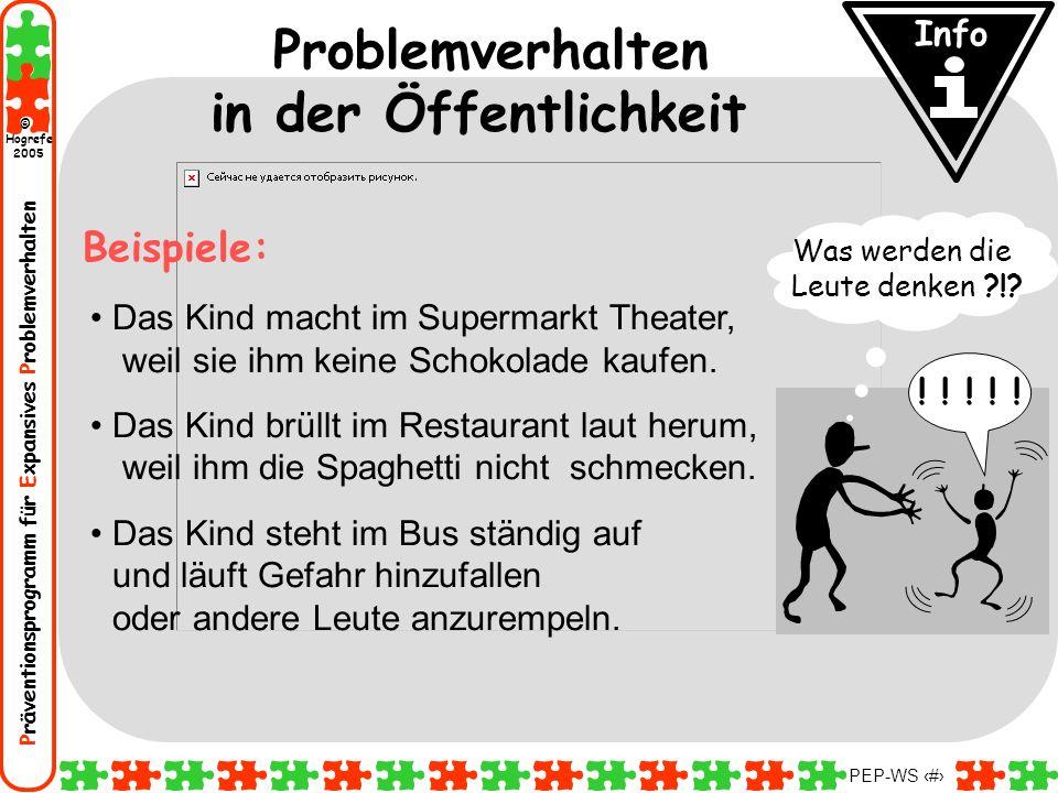 Präventionsprogramm für Expansives Problemverhalten Hogrefe 2005 © PEP-WS 61 Problemverhalten in der Öffentlichkeit Das Kind macht im Supermarkt Theat