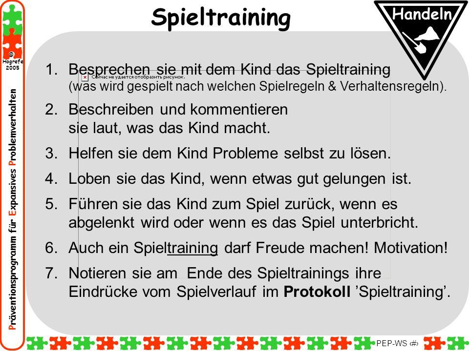 Präventionsprogramm für Expansives Problemverhalten Hogrefe 2005 © PEP-WS 69 1.Besprechen sie mit dem Kind das Spieltraining (was wird gespielt nach w