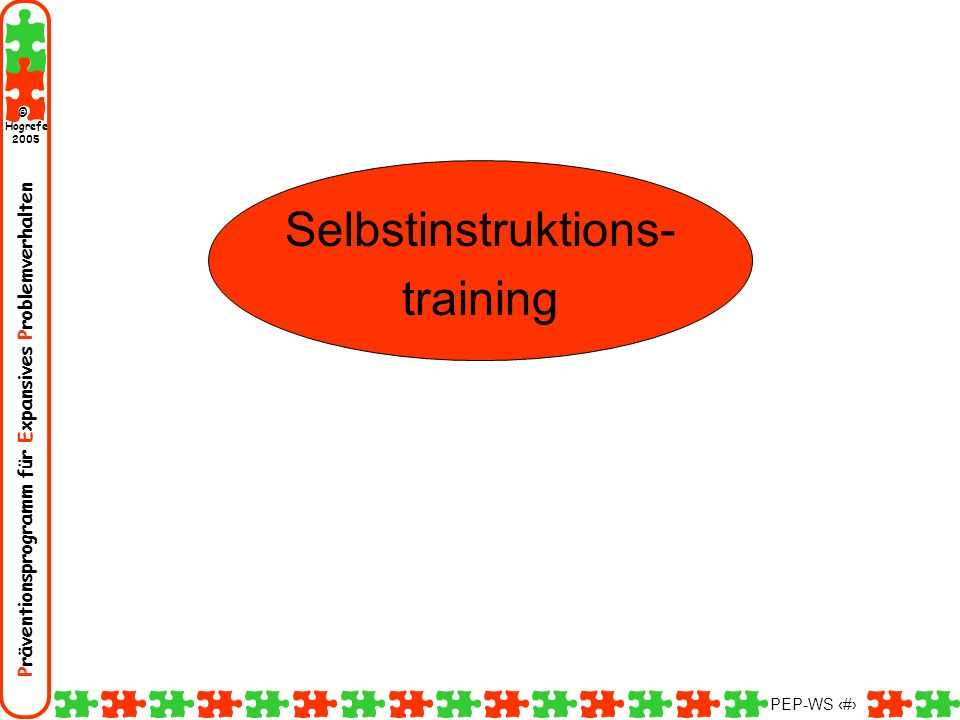Präventionsprogramm für Expansives Problemverhalten Hogrefe 2005 © PEP-WS 72 Selbstinstruktions- training