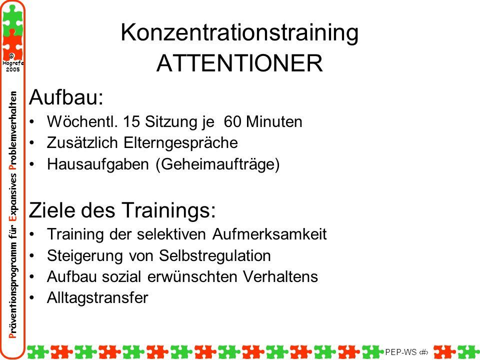 Präventionsprogramm für Expansives Problemverhalten Hogrefe 2005 © PEP-WS 76 Konzentrationstraining ATTENTIONER Aufbau: Wöchentl. 15 Sitzung je 60 Min