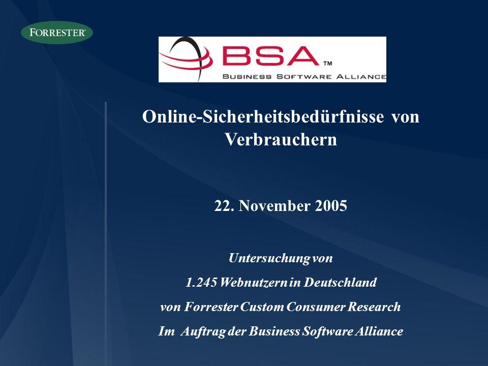 Online-Sicherheitsbedürfnisse von Verbrauchern 22. November 2005 Untersuchung von 1.245 Webnutzern in Deutschland von Forrester Custom Consumer Resear