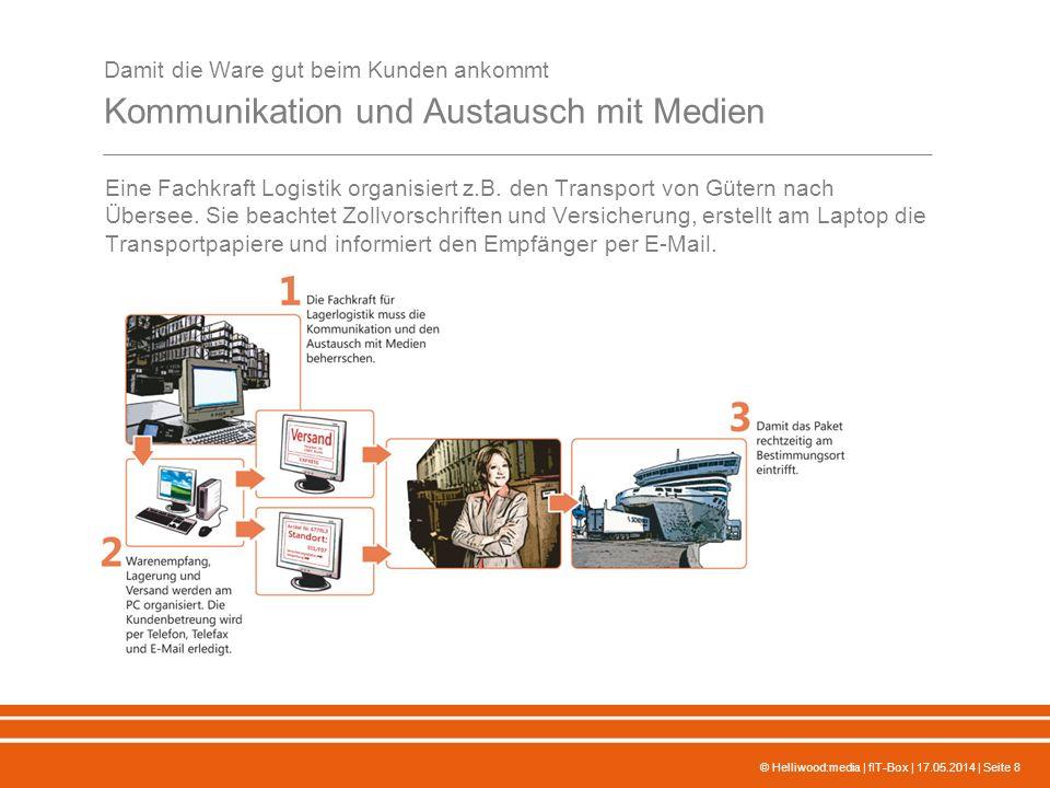 © Helliwood:media | fIT-Box | 17.05.2014 | Seite 8 Damit die Ware gut beim Kunden ankommt Kommunikation und Austausch mit Medien Eine Fachkraft Logistik organisiert z.B.