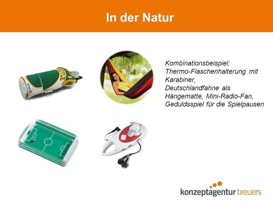 In der Natur Kombinationsbeispiel: Thermo-Flaschenhalterung mit Karabiner, Deutschlandfahne als Hängematte, Mini-Radio-Fan, Geduldsspiel für die Spiel