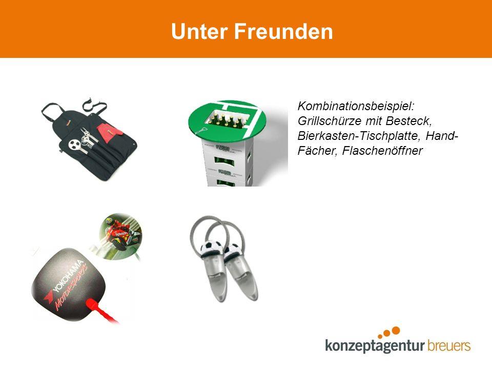 Unter Freunden Kombinationsbeispiel: Grillschürze mit Besteck, Bierkasten-Tischplatte, Hand- Fächer, Flaschenöffner