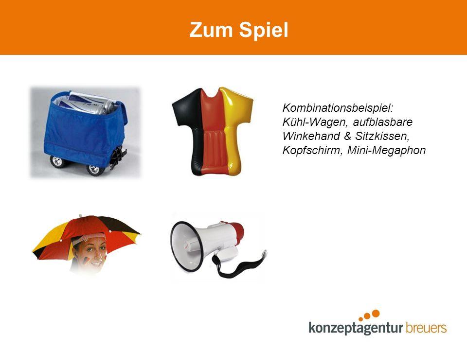 Zum Spiel Kombinationsbeispiel: Kühl-Wagen, aufblasbare Winkehand & Sitzkissen, Kopfschirm, Mini-Megaphon
