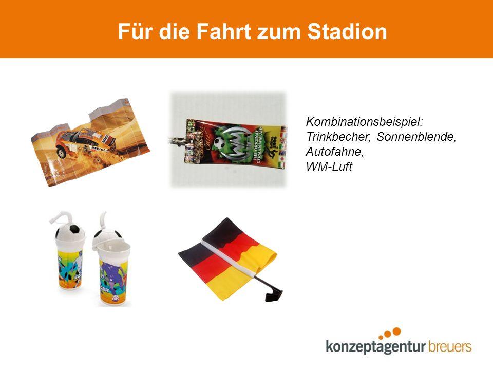 Im Stadion Kombinationsbeispiel: Bodybag, Lanyard, aufblasbare Winkehand, Fan-Schminke