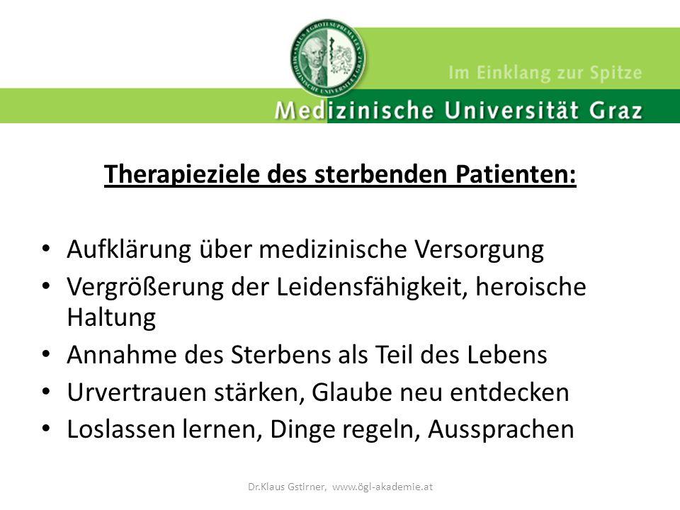 Therapieziele des sterbenden Patienten: Aufklärung über medizinische Versorgung Vergrößerung der Leidensfähigkeit, heroische Haltung Annahme des Sterb