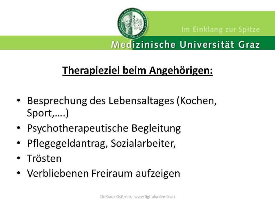 Therapieziel beim Angehörigen: Besprechung des Lebensaltages (Kochen, Sport,….) Psychotherapeutische Begleitung Pflegegeldantrag, Sozialarbeiter, Trös