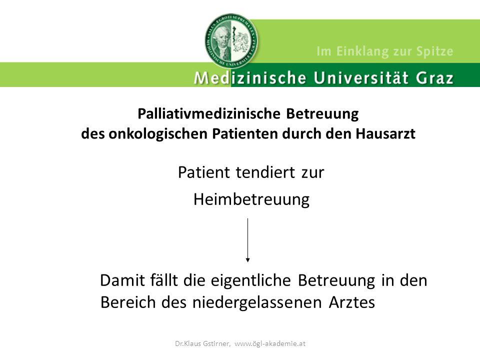 Palliativmedizinische Betreuung des onkologischen Patienten durch den Hausarzt Patient tendiert zur Heimbetreuung Damit fällt die eigentliche Betreuun
