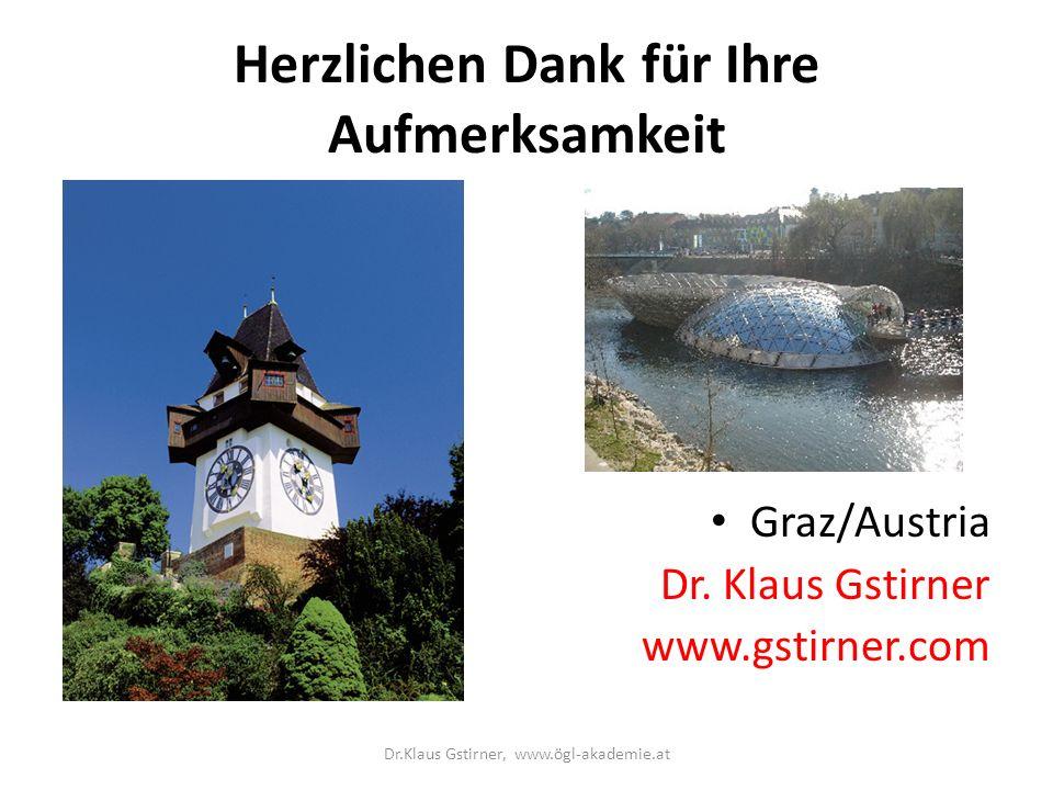 Herzlichen Dank für Ihre Aufmerksamkeit Graz/Austria Dr. Klaus Gstirner www.gstirner.com Dr.Klaus Gstirner, www.ögl-akademie.at