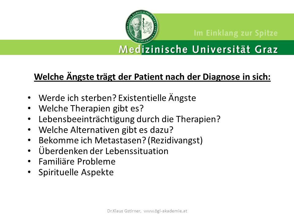 Welche Ängste trägt der Patient nach der Diagnose in sich: Werde ich sterben? Existentielle Ängste Welche Therapien gibt es? Lebensbeeinträchtigung du