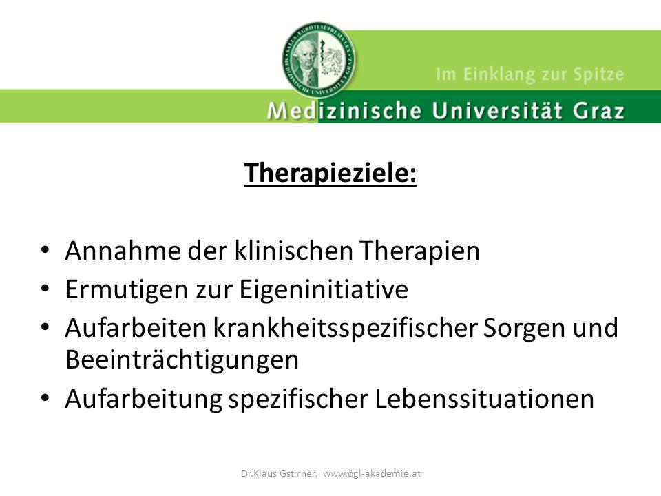 Therapieziele: Annahme der klinischen Therapien Ermutigen zur Eigeninitiative Aufarbeiten krankheitsspezifischer Sorgen und Beeinträchtigungen Aufarbe