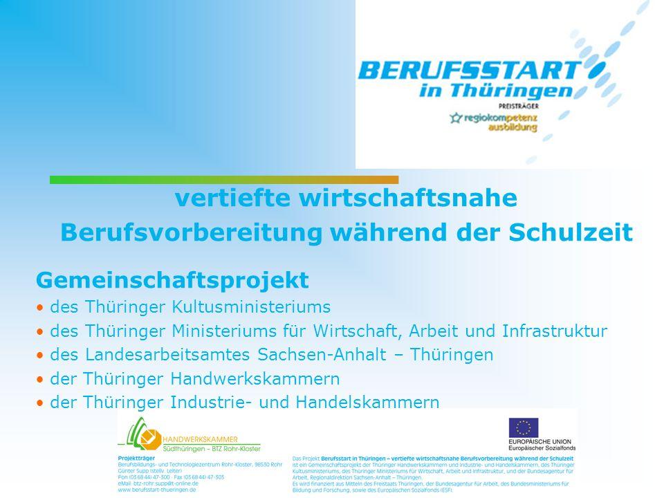 vertiefte wirtschaftsnahe Berufsvorbereitung während der Schulzeit Gemeinschaftsprojekt des Thüringer Kultusministeriums des Thüringer Ministeriums fü