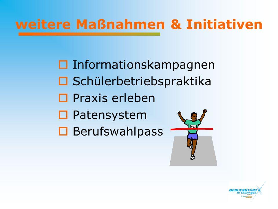 weitere Maßnahmen & Initiativen Informationskampagnen Schülerbetriebspraktika Praxis erleben Patensystem Berufswahlpass