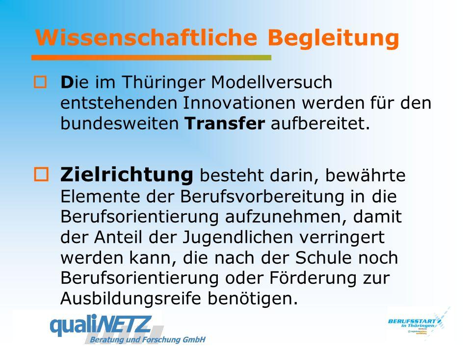 Wissenschaftliche Begleitung Die im Thüringer Modellversuch entstehenden Innovationen werden für den bundesweiten Transfer aufbereitet. Zielrichtung b