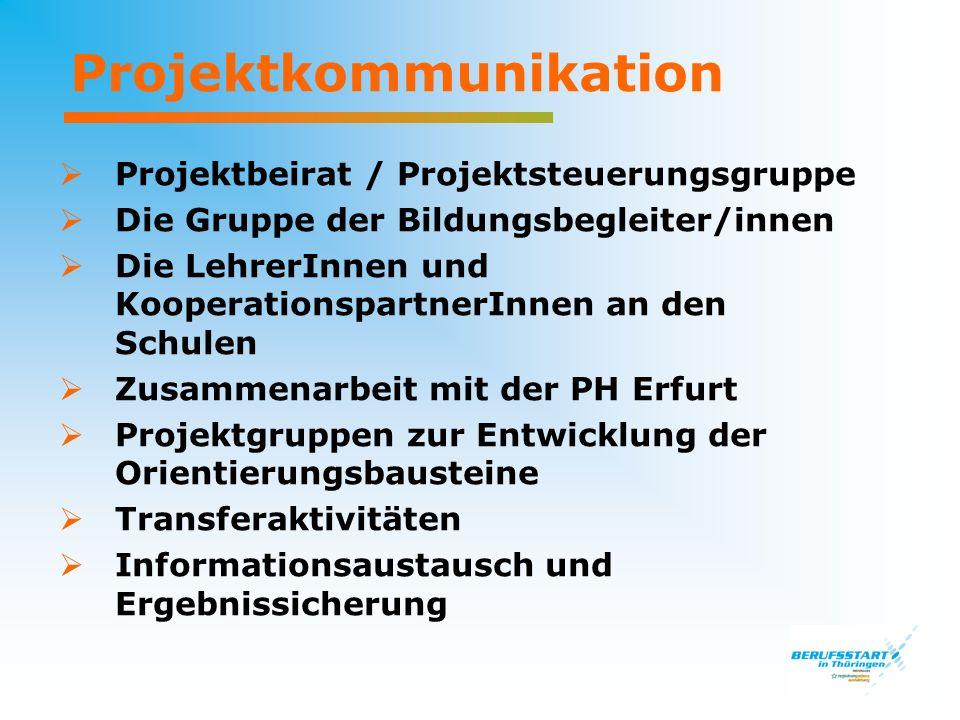 Projektkommunikation Projektbeirat / Projektsteuerungsgruppe Die Gruppe der Bildungsbegleiter/innen Die LehrerInnen und KooperationspartnerInnen an de