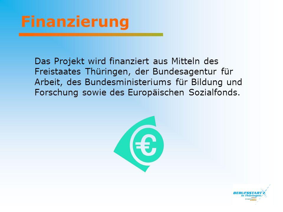 Finanzierung Das Projekt wird finanziert aus Mitteln des Freistaates Thüringen, der Bundesagentur für Arbeit, des Bundesministeriums für Bildung und Forschung sowie des Europäischen Sozialfonds.