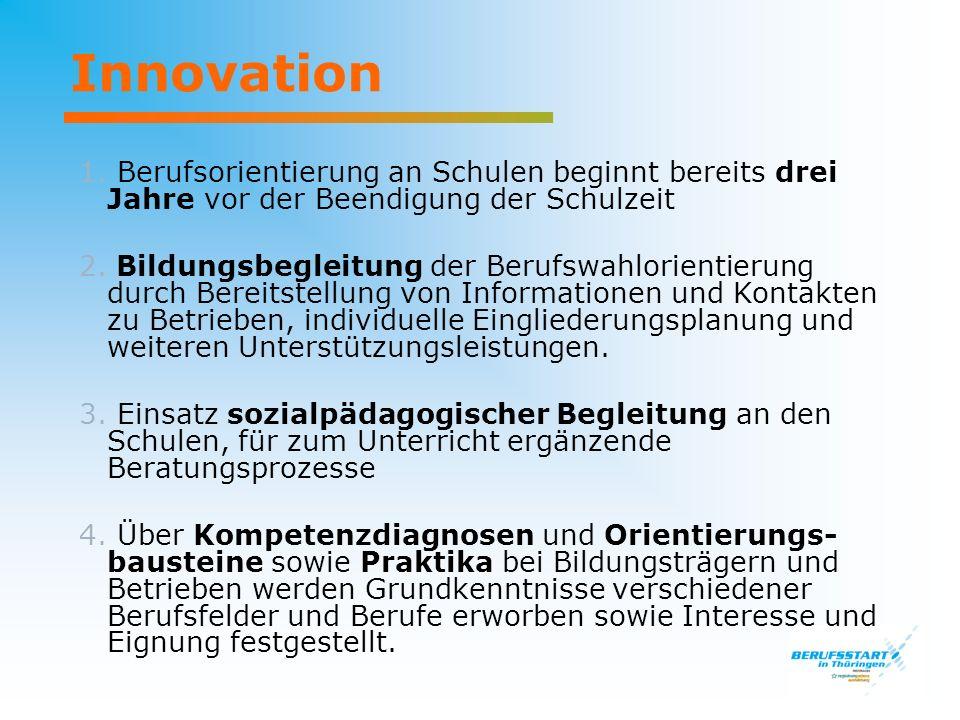 Innovation 1. Berufsorientierung an Schulen beginnt bereits drei Jahre vor der Beendigung der Schulzeit 2. Bildungsbegleitung der Berufswahlorientieru
