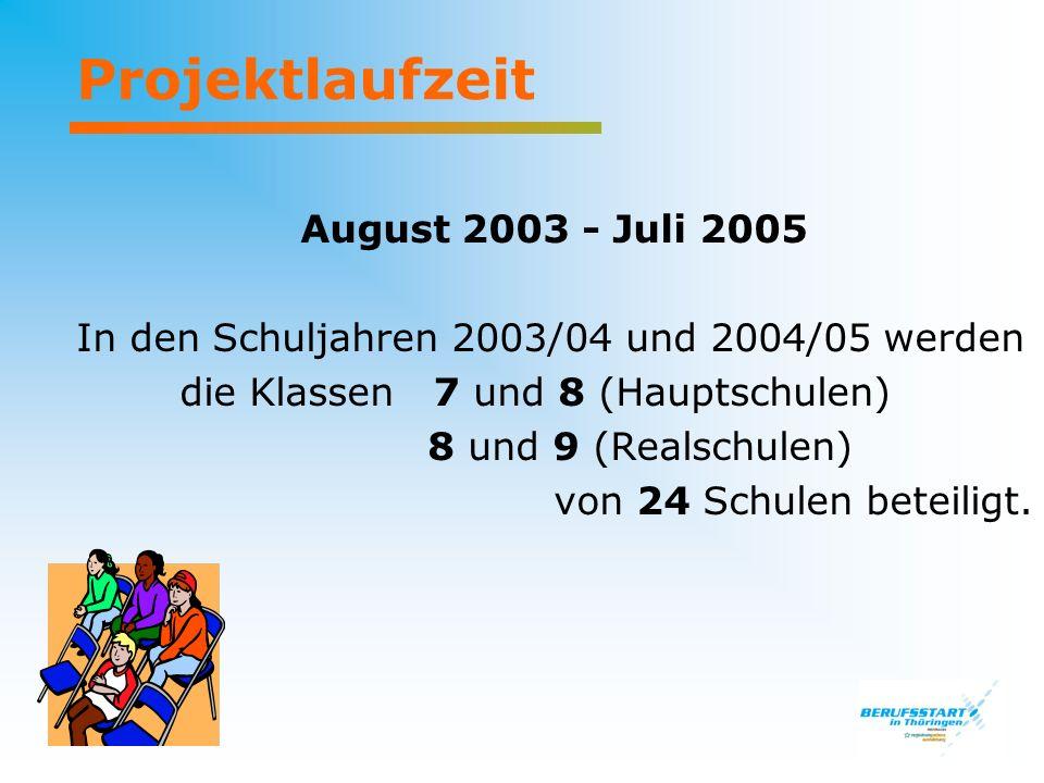 Projektlaufzeit August 2003 - Juli 2005 In den Schuljahren 2003/04 und 2004/05 werden die Klassen 7 und 8 (Hauptschulen) 8 und 9 (Realschulen) von 24 Schulen beteiligt.