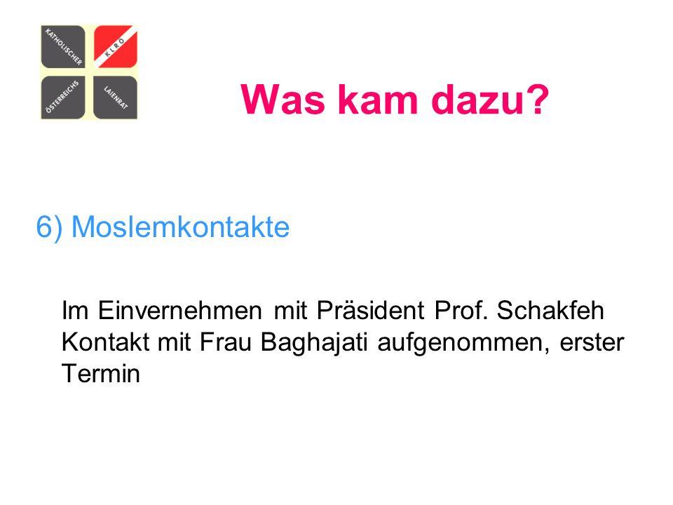 Was kam dazu? 6) Moslemkontakte Im Einvernehmen mit Präsident Prof. Schakfeh Kontakt mit Frau Baghajati aufgenommen, erster Termin