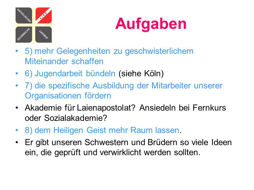Aufgaben 5) mehr Gelegenheiten zu geschwisterlichem Miteinander schaffen 6) Jugendarbeit bündeln (siehe Köln) 7) die spezifische Ausbildung der Mitarb
