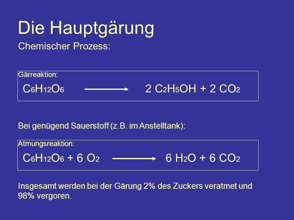 Die Hauptgärung Chemischer Prozess: C 6 H 12 O 6 2 C 2 H 5 OH + 2 CO 2 Gärreaktion: C 6 H 12 O 6 + 6 O 2 Atmungsreaktion: 6 H 2 O + 6 CO 2 Bei genügend Sauerstoff (z.B.