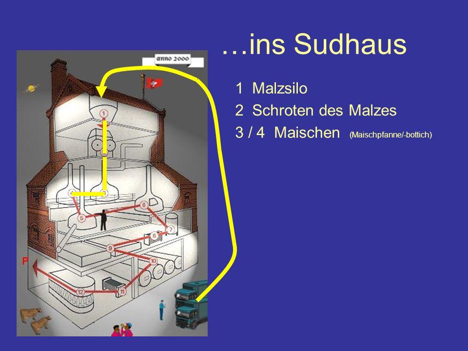 …ins Sudhaus Malz 1 Malzsilo 3 / 4 Maischen (Maischpfanne/-bottich) 2 Schroten des Malzes