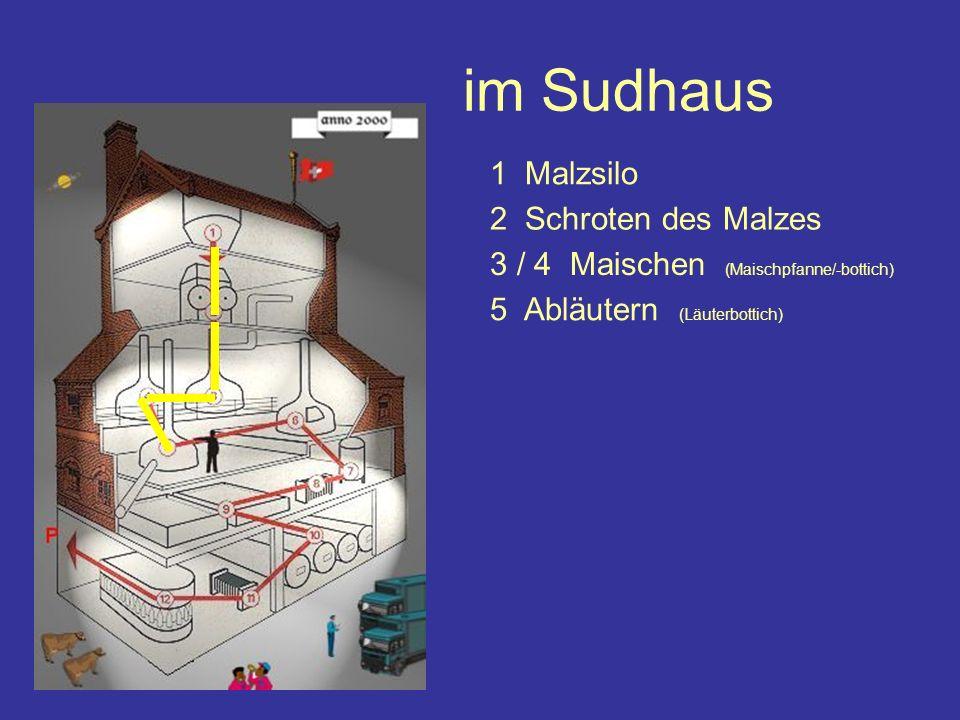 im Sudhaus 1 Malzsilo 3 / 4 Maischen (Maischpfanne/-bottich) 2 Schroten des Malzes 5 Abläutern (Läuterbottich)