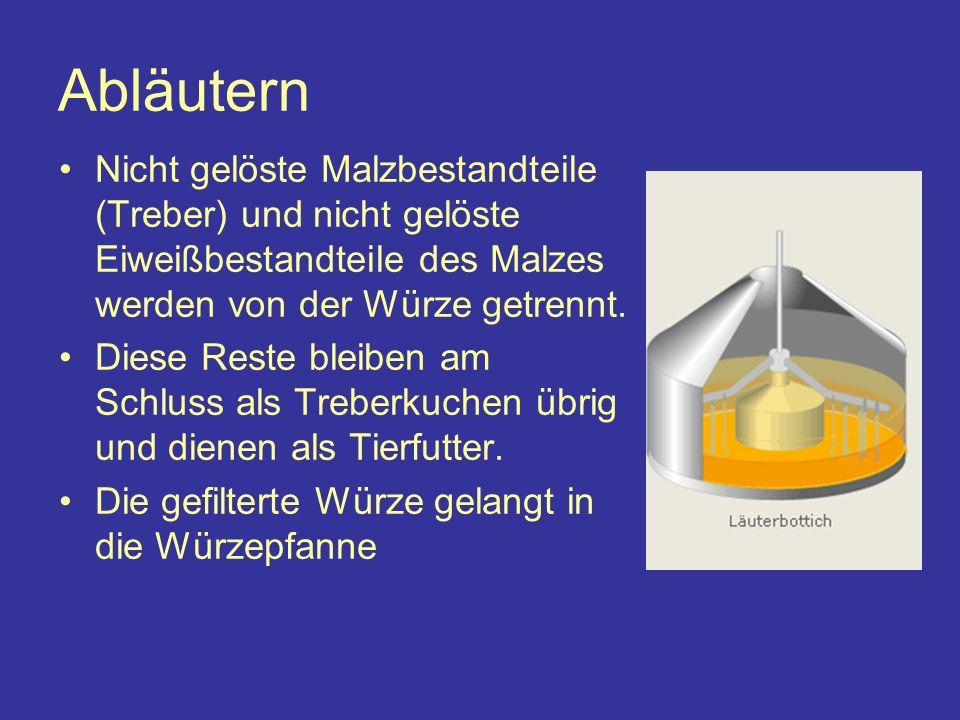 im Sudhaus 1 Malzsilo 3 / 4 Maischen (Maischpfanne/-bottich) 2 Schroten des Malzes 5 Abläutern (Läuterbottich) 6 Hopfen und Kochen der Würze (Würzepfanne)