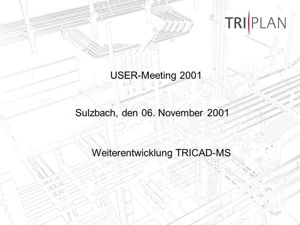 TRIPLAN AG, Bad Soden, 06.11.20012 TRICAD-MS Weiterentwicklung Geplante Freigabe des nächsten Release Februar 2002 Produktzusammenführung TRICAD-MS, TRICAD-Fördertechnik, Pipe M Einheitlicher Releasestand mit Version 5.0 Neuentwicklung eines Bühnenmoduls bis Februar 2002 (erste Version) Anbindung von Matpipe an alle Module (siehe Vortrag Jens Sauer) Ständige Weiterentwicklung der TRICAD-MS Version wie folgt: