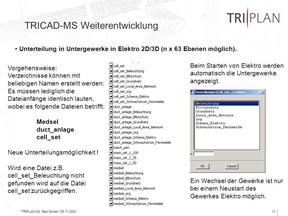 TRIPLAN AG, Bad Soden, 06.11.200110 TRICAD-MS Weiterentwicklung Unterteilung in Untergewerke in Elektro 2D/3D (n x 63 Ebenen möglich). Vorgehensweise: