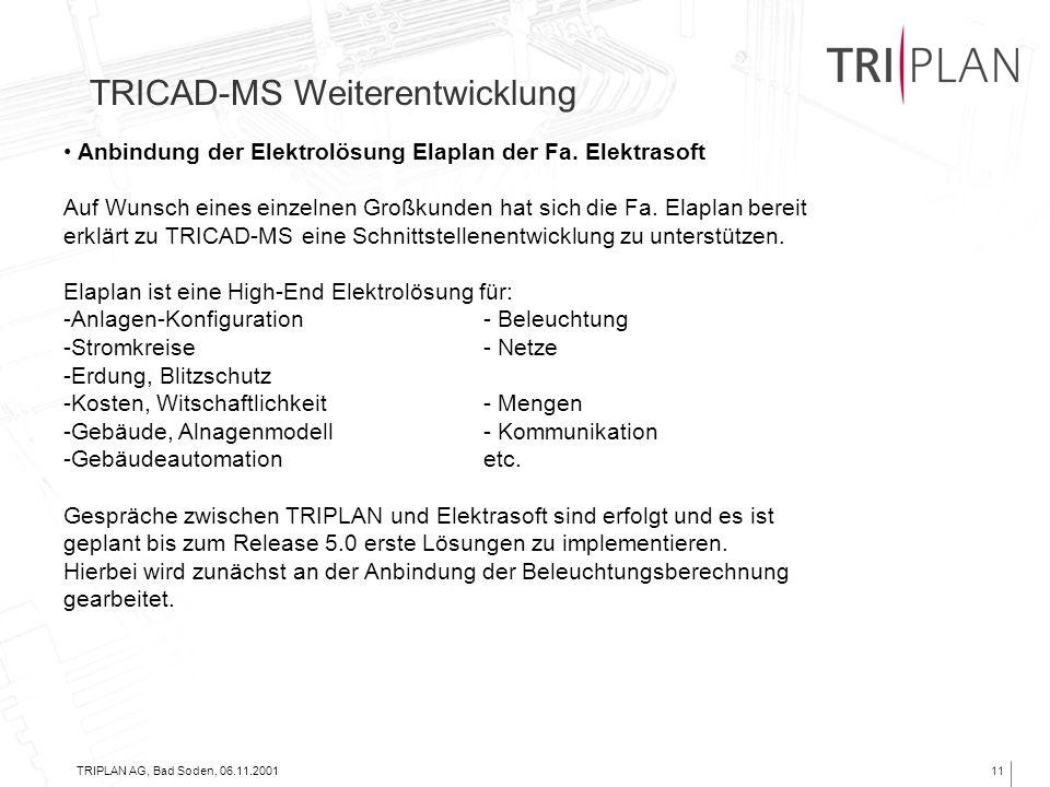 TRIPLAN AG, Bad Soden, 06.11.200111 TRICAD-MS Weiterentwicklung Anbindung der Elektrolösung Elaplan der Fa. Elektrasoft Auf Wunsch eines einzelnen Gro
