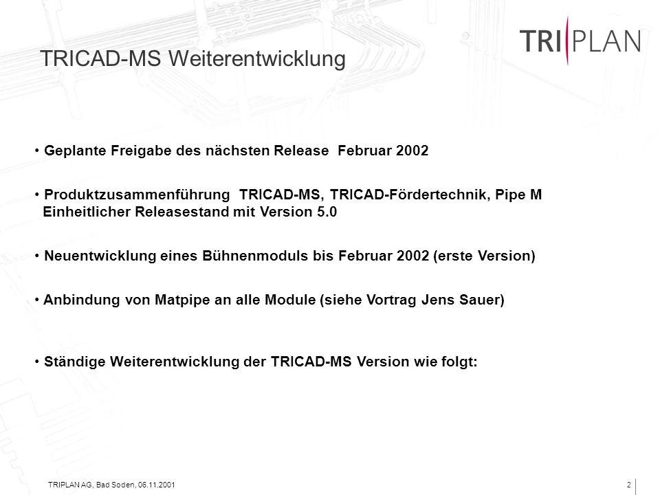 TRIPLAN AG, Bad Soden, 06.11.20012 TRICAD-MS Weiterentwicklung Geplante Freigabe des nächsten Release Februar 2002 Produktzusammenführung TRICAD-MS, T
