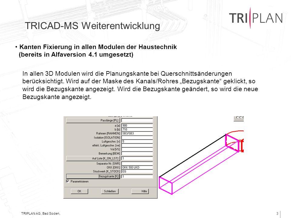 TRIPLAN AG, Bad Soden, 06.11.20013 TRICAD-MS Weiterentwicklung Kanten Fixierung in allen Modulen der Haustechnik (bereits in Alfaversion 4.1 umgesetzt