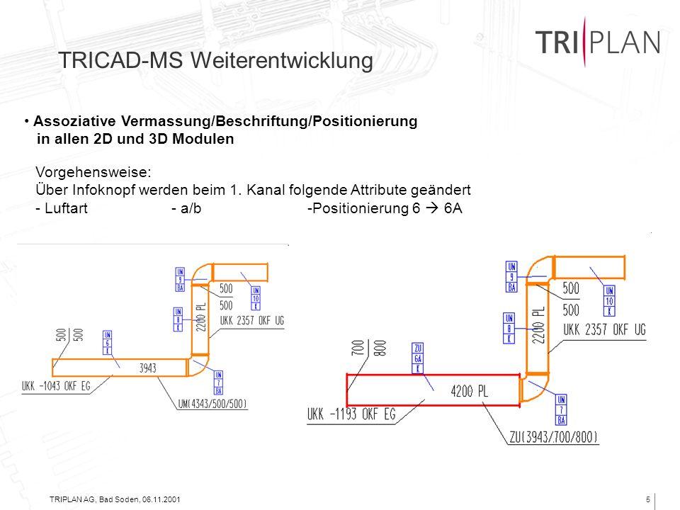 TRIPLAN AG, Bad Soden, 06.11.20015 Assoziative Vermassung/Beschriftung/Positionierung in allen 2D und 3D Modulen TRICAD-MS Weiterentwicklung Vorgehens