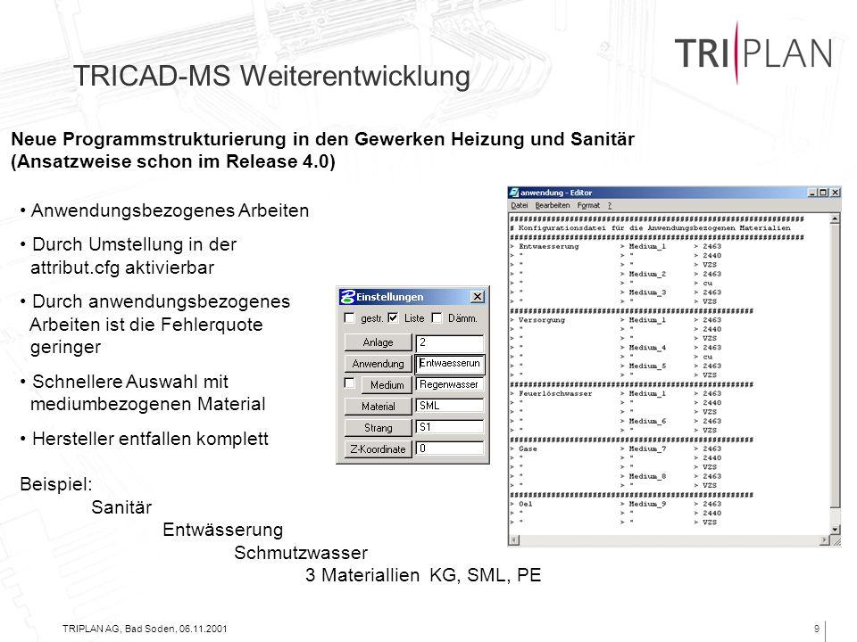 TRIPLAN AG, Bad Soden, 06.11.20019 TRICAD-MS Weiterentwicklung Neue Programmstrukturierung in den Gewerken Heizung und Sanitär (Ansatzweise schon im R