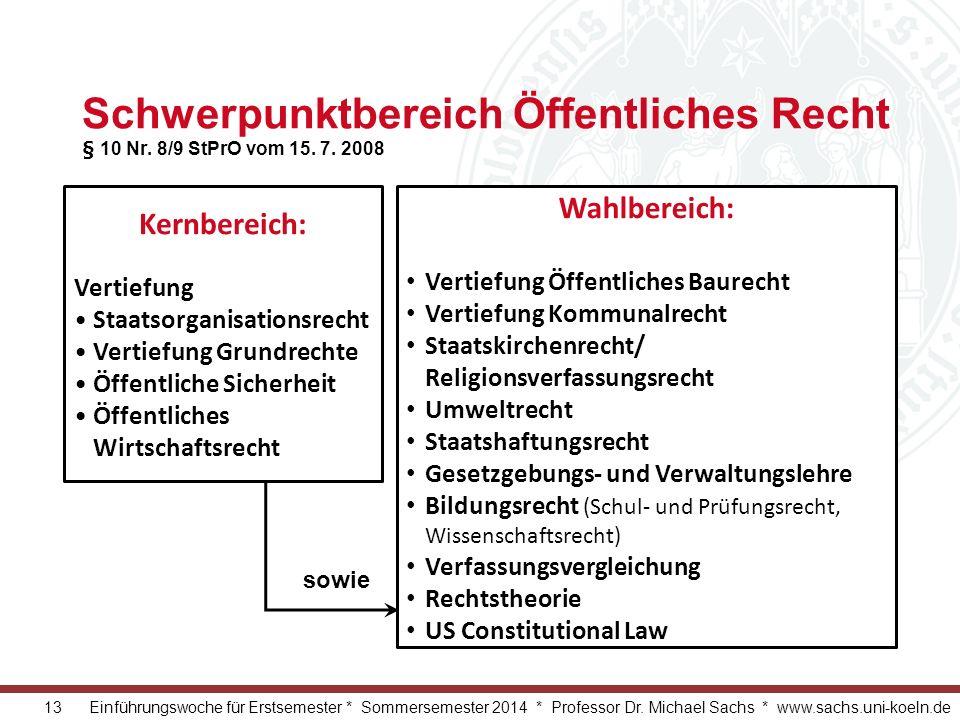 13 Einführungswoche für Erstsemester * Sommersemester 2014 * Professor Dr. Michael Sachs * www.sachs.uni-koeln.de Schwerpunktbereich Öffentliches Rech