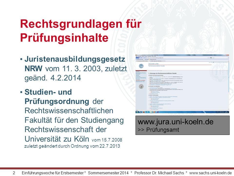 2 Einführungswoche für Erstsemester * Sommersemester 2014 * Professor Dr. Michael Sachs * www.sachs.uni-koeln.de Rechtsgrundlagen für Prüfungsinhalte