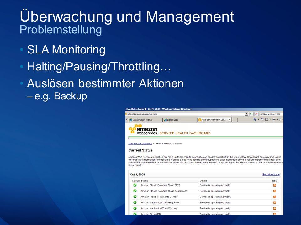 Überwachung und Management Problemstellung SLA Monitoring Halting/Pausing/Throttling… Auslösen bestimmter Aktionen –e.g.