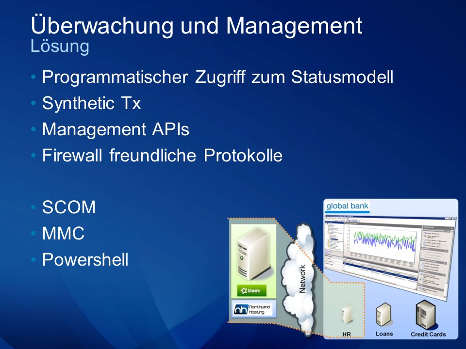 Überwachung und Management Lösung Programmatischer Zugriff zum Statusmodell Synthetic Tx Management APIs Firewall freundliche Protokolle SCOM MMC Powershell